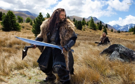 the hobbit an unexpected journey - thorin, hobbit, grass, sword