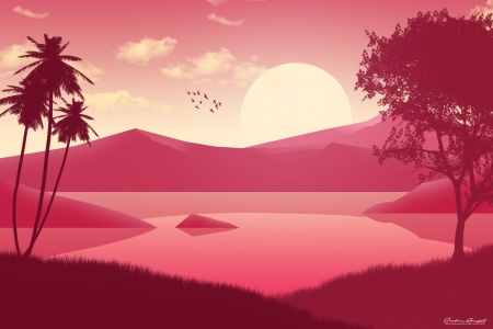 Sunset - bird, shadow, sunset, pink, scenery, vector, fantasy, water, tree, palm tree