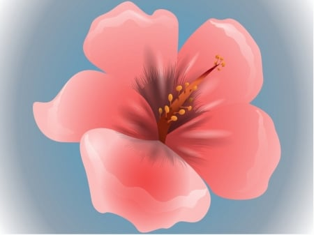 Peach On Blue - design, flower, peach, blue