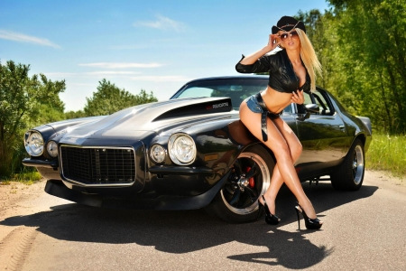 Hot Ride . . - hats, cowgirl, Camaro, ranch, women, outdoors, Chevy, fashion, style, blondes, western