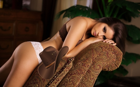 Cozy Ranch . . - hats, cowgirl, lingerie, ranch, women, brunettes, chair, western, style