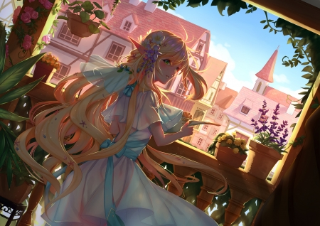 Elf princess - elf, pixiv fantasia, anime, manga, pink, tagme, princess, dress, girl, blue