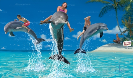 Dolphin Riders - people, sea, beach, dolphins, digital, palms, artwork