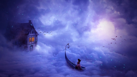 Fantasy Trip - clouds, girl, art, boat, house, birds