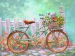 Flowered Bicycle Basket