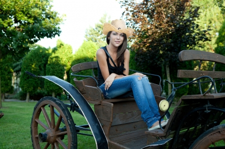 Take Me For A Ride . . - hats, cowgirl, ranch, women, outdoors, brunettes, wagon, style, western