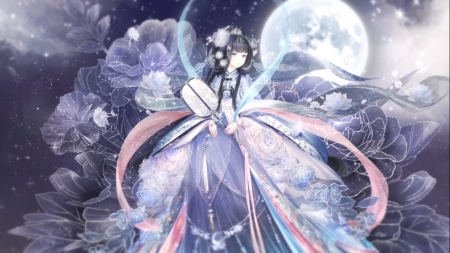 Watching Moon - pretty, hd, dress, adore, adorable, beautiful, woman, women, elegant, sweet, nice, moon, love, anime, beauty, anime girl, long hair, star, night, gorgeous, lovely, female, gown, sky, kawaii, girl, oriental, flower, petals, chinese, lady, maiden