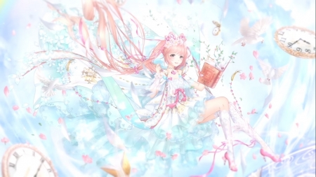First Wind - pretty, dress, book, beautiful, adorable, sweet, floral, nice, high heels, anime, beauty, anime girl, long hair, blue, lovely, female, gown, clock, smile, heels, smiling, happy, cute, kawaii, girl, flower, petals, white