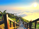 Wooden walkway going down mountain under bright sun