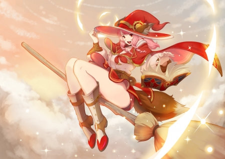 Witch - witch, red, brom, girl, hanndesu, anime, manga, hat