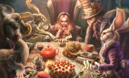 The Tea Party - wonderland, white rabbit, mad hatter, cake, iana venge, rabbit, luminos, alice, teaparty, fantasy, girl, cup