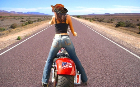 Her Iron Horse . . - hats, boots, cowgirl, iron horse, outdoors, americana, motorcycle, women, highway, blondes, western