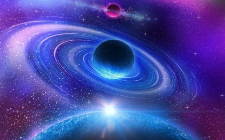 Planets - pink, blue, space, fantasy, luminos, cosmos