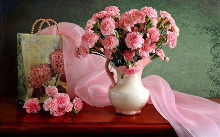Still life with pink carnations
