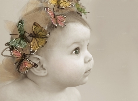 beautiful baby - hair, butterflies, baby, band