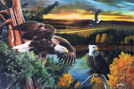 On Watch - eagles, bald eagles, painting, sunset, sky, trees, clouds, artwork, raptors