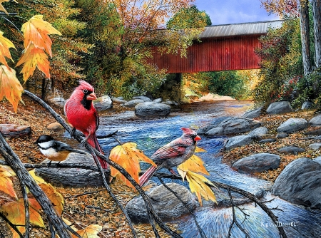 Shared Moments - stones, leaves, autumn, covered bridge, birds, river, trees, artwork, cardinals, painting