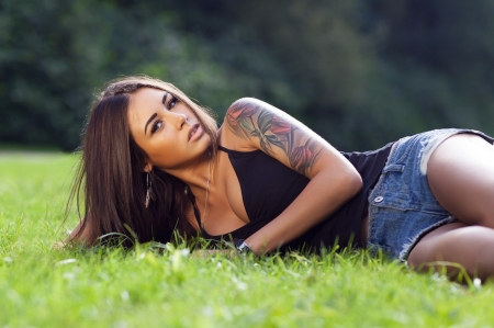 Just Waiting . . - tattoos, cowgirl, ranch, women, outdoors, brunettes, western, style
