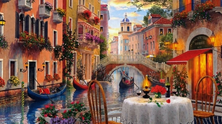 Italian Scereny - flowers, water, boats, pAinting
