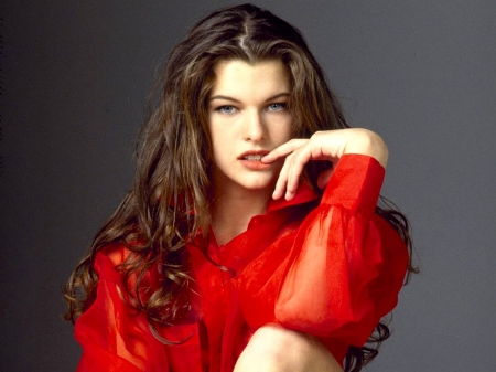 Milla Jovovich - Milla Jovovich, Milla, shirt, red, model, closeup, beautiful, hair, Jovovich, 2019, actress, wallpaper, hot, eyes