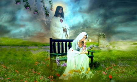 You Are Never Alone - Jesus Christ, love, Field, lord, Savior, woman, protector, praying, Sadness, lonliness