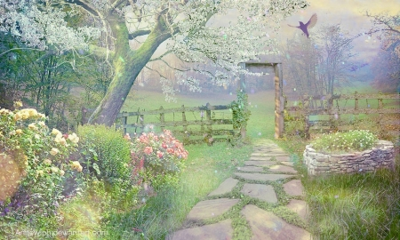I'm Waiting For Spring - softness, Light, Beautiful, Field, Landscape, bird, path, flowers, peaceful, pastel, nature, Spring