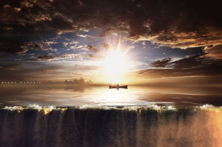 Under the sunset - lake, fishing, sun, manipulation, golden, sunset, beautiful, clouds, sky, water, boat, waterfall, photoshop