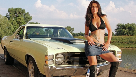 Lets Go For A Ride . . - belt buckle, boots, cowgirl, ranch, women, cars, brunettes, Chevy, chevelle, style, western