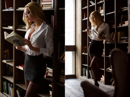 Ekaterina Zueva as a sexy blonde librarian - reading book, black bra, window, books, glasses, library setting, blonde, skirt, black thigh highs, white blouse, black heels, revealing, shelves