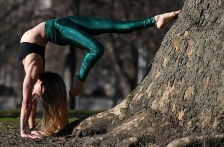 Woman practicing yoga - London, Woman, Yoga, England