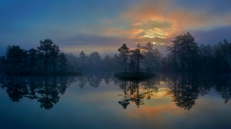 Serenity - water, mistical, serene, sunrise, reflection, trees, sky, lake, sunset