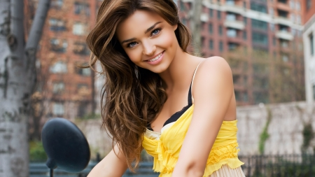 :-) - pretty girl, yellow blouse, smiling, model