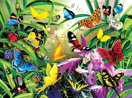 Tropical Butterflies - butterfles, tropical, greenery, wallpaper