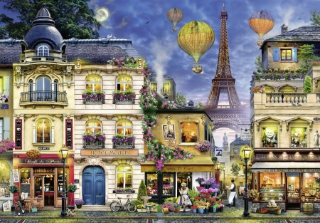 Evening Walk through Paris - restaurant, houses, eiffel tower, balloons, people, flowers, painting, artwork