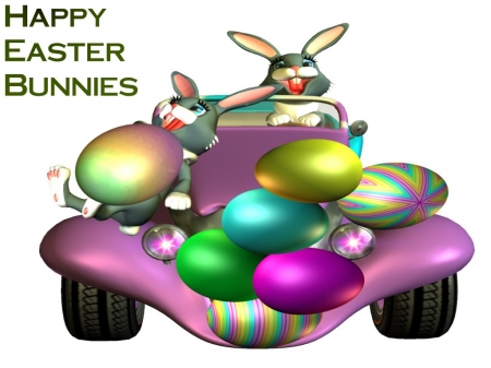 Happy Easter Bunnies Going To Your Holuse - green, holiday, yellow, easter, pink, bunnies, mauve, blue