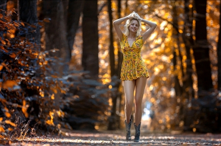 Walk In The Woods - path, trees, girl, sunlight