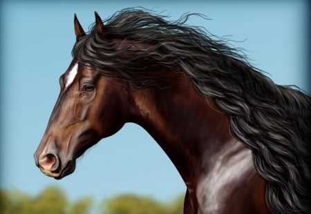 Horse - pictura, panting, art, cal, brown, horse