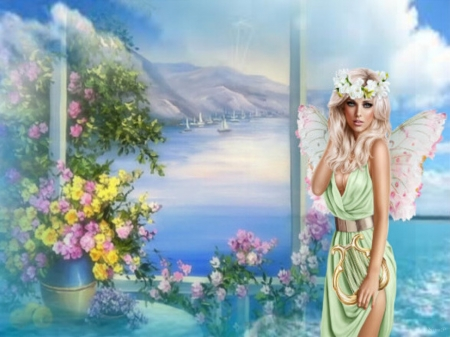 fairy the spring - flower, spring, sea, fairy, boat