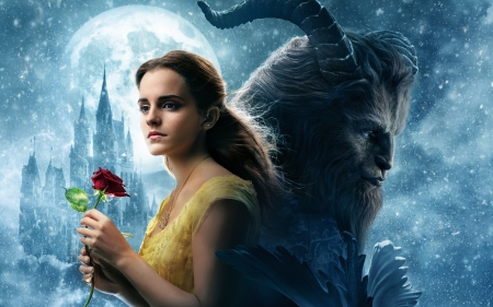 Beauty and the Beast 2017 - princess, disney, couple, red, poster, beauty and the beast, movie, rose, luna, belle, Emma Watson, moon, flower
