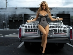 Swimsuit Model and a Cadillac