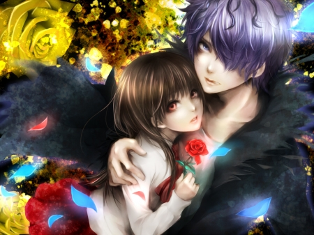 Mary and Gary - mary, gary, couple, red, ib, lma, rose, manga, yellow, man, girl, anime, flower, blue