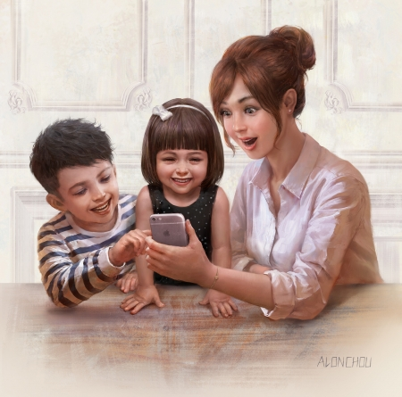 Family time - art, family, apple, brother, luminos, children, mother, fantasy, boy, alin chou, copil, sister, phone, hand