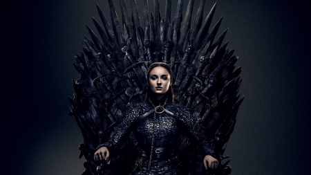 Game of Thrones - season 8, girl, actress, game of thrones, tv series, black, sansa stark, Sophie Turner, fantasy