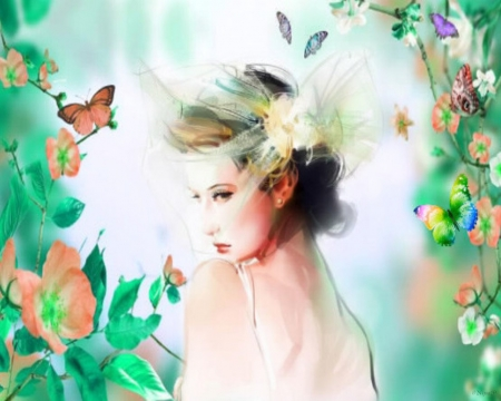ethereal existence - flowers, Woman, portrait, vintage, butterflies