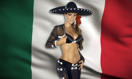 Mexican Cowgirl~Ninel Conde - sensuous, mexican, cowgirl, Model, fashion, sexy, hat, flag, alluring