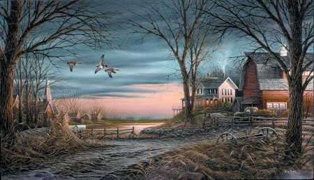 Country Neighbours - painting, birds, sky, trees, barn, artwork, landscape, houses, sunset, church