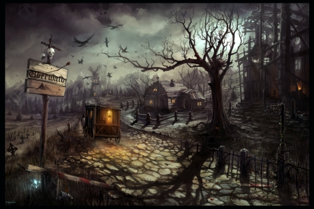 wrong turn - fantasy, city, street, art, haunted, spoky