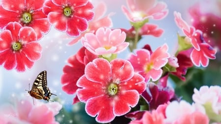 Floral Wallpaper - pretty, pinks, butterfly, floral, wallpaper