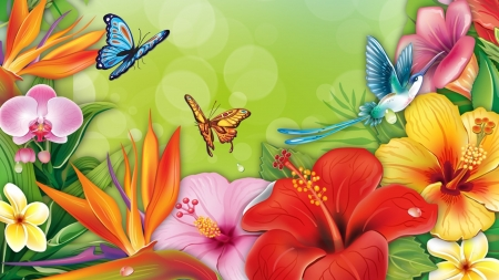 Butterfliesan Flowers - red, orange, large, yellow, bright, flowers, butterflies, floral, pink