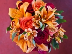 Beautiful bouquet of autumn flowers
